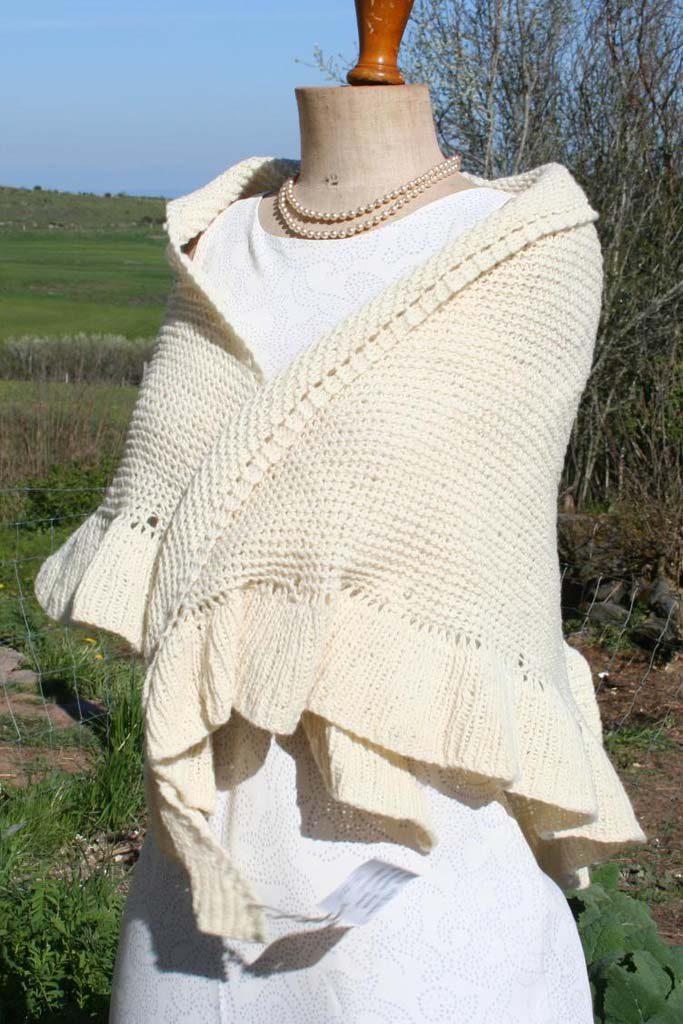 chale blanc en laine mérinos