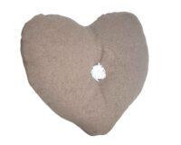 coussin en forme de coeur en laine et lin