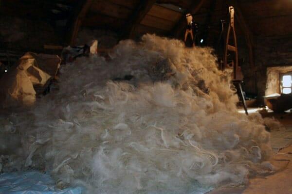 laine pour la fabrication de la couette